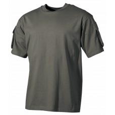 Футболка армии США, с карманами на рукавах, зеленая
