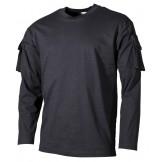 Футболка армии США, с длинным рукавом, с карманами на рукавах, черная