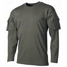 Футболка армии США, с длинным рукавом, с карманами на рукавах, зеленая