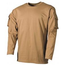 Футболка армии США, с длинным рукавом, с карманами на рукавах, цвет койот