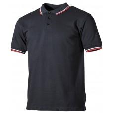 Поло, черное с красно-белыми полосками