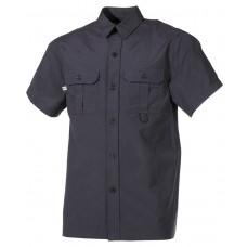 Открытая рубашка с короткими рукавами, с микрофиброй, черная