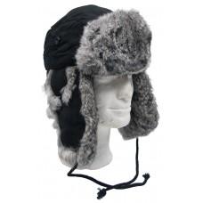 Меховая зимняя шапка, черная, из серого меха кролика