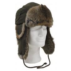 Меховая зимняя шапка из коричневого меха кролика