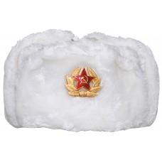 Русская зимняя меховая шапка, белая, с значком