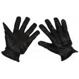 Кожаные перчатки, черные, вставки с кварцевым песком