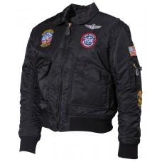 Американская куртка пилота,детская, черная, с нашивками