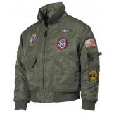 Американская куртка пилота,детская, зеленая, с нашивками
