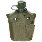 Американская пластиковая армейская фляжка зеленого цвета, 1 л , нейлоновый чехол