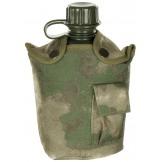 Американская пластиковая армейская фляга, 1 л , нейлоновый чехол, цвет зеленый камуфляж