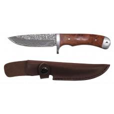 Дамасской нож, кожаная ручка, деревянный декор из красной айвы
